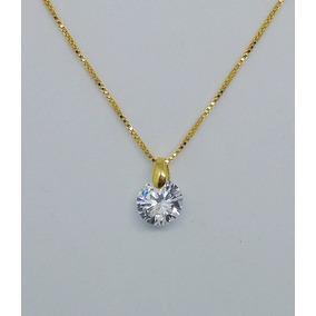 Colar Com Pingente Diamante Sintético Chapeado A Ouro 18 K