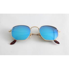 dea2ba259f3b4 Oculos De Sol Ray Ban Rb3548 Hexagonal Classic Azul Espelhad