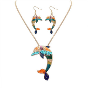 Set Delfines Rainbow Gold Collar + Aretes S-008