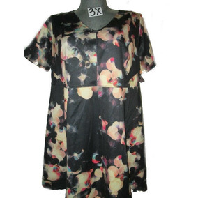 Vestido Casual Negro/beige Estampado Talla 3x Ava Viv