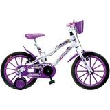 Bicicleta Amorinha Colli Bike Aro 16, Branco/roxo