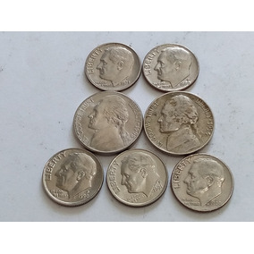 Lote 7 Monedas Estados Unidos 5 Y 10 Cents Excelente Estado