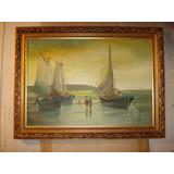 Pintura Marina Antigua En Tela Oleo