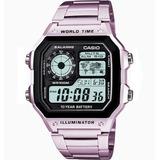 Relógio Casio Quadrado Ae-1200 Wh Digital Alarme Luz Noturna