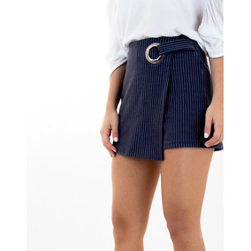 Falda Short Azul Oscura De Rayas