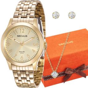 Relógio Seculus Feminino 20403lpsvda1k + Colar E Brincos