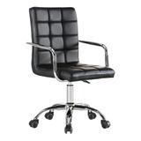 Cadeira Escritório Diretor Couro Pu Pelegrin Pel-1102 Preta