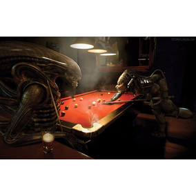 Azulejo Decorativo Aliens Vs Predador Jogando Bilhar
