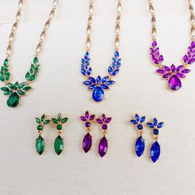 97cae8dd2e06 Collar Flor Piedra Verde Mujeres + Pendientes Conjuntos Joya