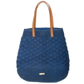 Cantão Bolsa Grande Palha Crochet Azul Ou Rosa