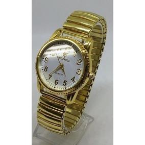 38fdfa26c5a Relógio Feminino Aço Dourado Pulseira Elástica Lindo Barato