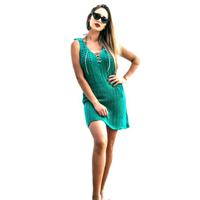 Vestido Saída De Praia Tricot Decote Cordão Oficial Fotoreal