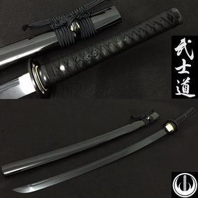 Espada Katana Com Corte Lâmina Negra Aço Dobrado Original
