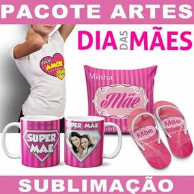 Artes Prontas Sublimação Kit Dia Das Mães Canecas Chinelos