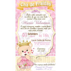 Convite Digital Chá De Fraldas Bebê Ursinha Princesa Rosa #1