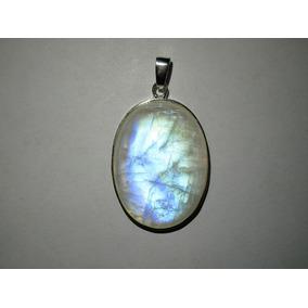 Dije De Piedra Luna Espectro Azul Natural - Plata .925 Óvalo