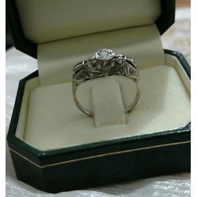 Anillo Oroblanco 18 Brillante Diamantitos Antiguo Enviograt
