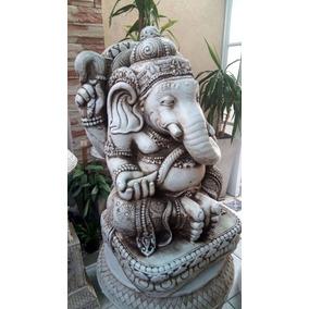 Estatua Buda Ganesha Elefante Chico Sentado Resina Exterior