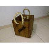 Cubo De Madera Retro Con Letreros Y Cuerdas 30cm X30cm X32cm