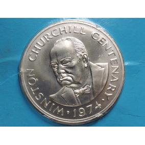 Turks And Caicos 20 Crowns Churchill 38,7 Gr Prata 925 1974