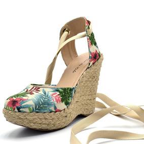 b87564bf0c Sandalia Tecido Cru E Verde Feminino - Sapatos no Mercado Livre Brasil