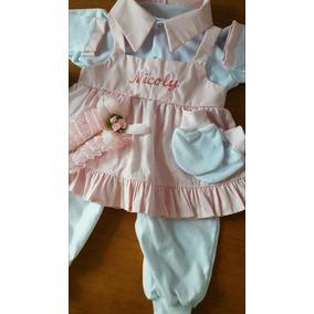 Conjunto Saída Maternidade Macacão Com Vestido