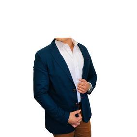 Blazer Saco Lino Para Hombre Color Marino Peaceful