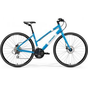 Bicicleta Urbana Para Mujer Con Guardabarros Azul Merida