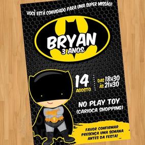 Arte Convite Digital Virtual Batman Cute Super Herois