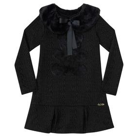 Vestido Infantil Relevo Com Gola Pelo - Kukiê e97ac4d86ab8