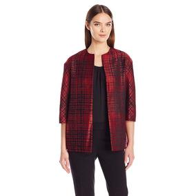 Anne Klein Fino Blazer Abrigo Saco De Brocado Rojo. T S Y M