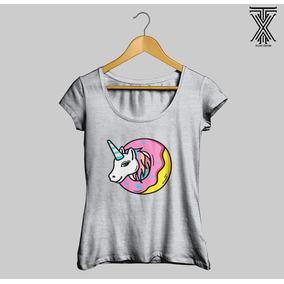 65b1d4c42 Camisa Camiseta Baby Look Unicórnio Rosquinha Tumblr Oferta