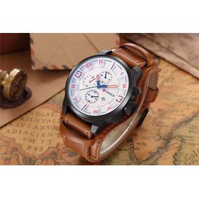 Relógio Esportes Militar Curren 8225 Couro Genuíno
