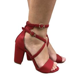 62aa0c76fa Sandalia Feminina Salto Medio Salto Grosso Vermelha Sapatos