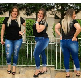 b11c48f7df0cc Calça Feminina Plus Size Leg Branca - Calças Azul aço no Mercado ...