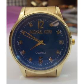 Relógio M K Mostrador Azul Detalhado Pulseira Série Ouro