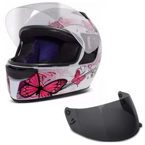 Capacete Moto Ebf New Spark Fechado Borboleta Branco E Rosa