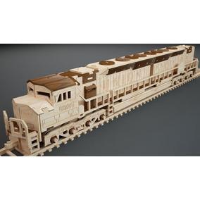 Trem Locomotiva Em Mdf Cru Montado Mais Brinde