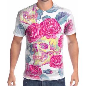 Camiseta Personalizada Floral Skull - Calçados df99787c8ab