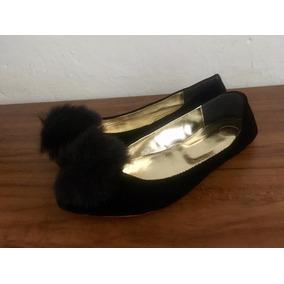 Env. Barato: Flats Talla 24   Negro Gamuza Pompón Mujer Dama
