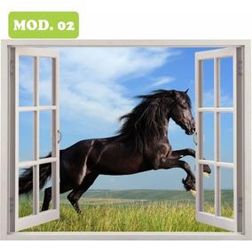 Adesivo Janela Parede Cavalo Alazão Negro 0,80 X 1,00 Mod.02
