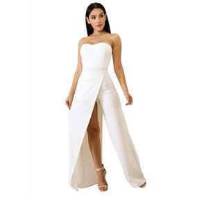 Sexy Jumper Strapless Blanco Elegante Abertura Pierna 64377