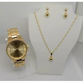 Lote Relógio Feminino Dourado + Colar + Brinco Qualidade