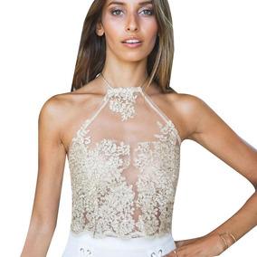 Mujeres Camiseta De Encaje De Halter Floral Tops De Dama