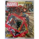 Álbum Super Heroes Marvel + 15 Sobres De Estampas + Cajita