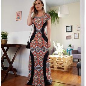 Vestido Longo Estampado Manga Curta Moda Evangélica 2791