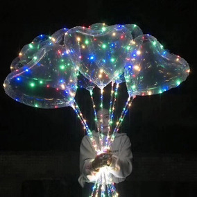 Balão Transparente Coração Com Led Na Vareta 1 Unidade
