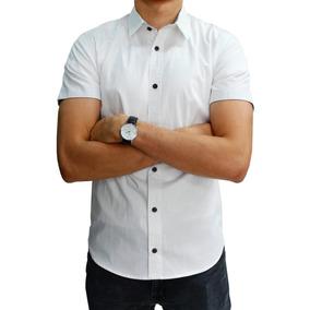 Camisa Manga Corta Blanca Lisa