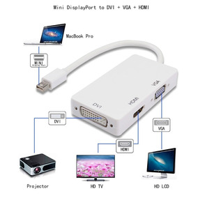 Adaptador Convertidor Mini Displayport A Hdmi Vga Dvi Mac