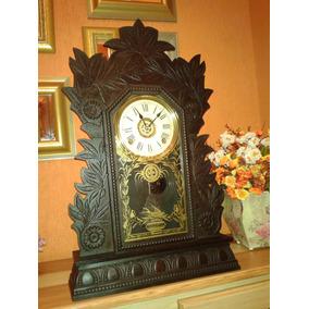 bbf74759841 Relíquia  Gilbert Black Forest Oak Mantel Clock - Usa  1895